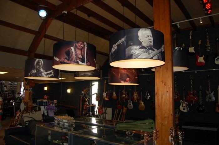 Lampenkappen voor muziekwinkel