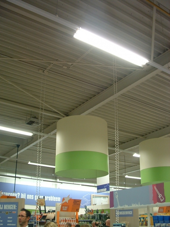 Tweekleurig cilinder lamp plafond