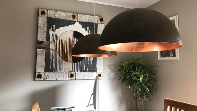 Halve bol lampen met koperen binnenkant