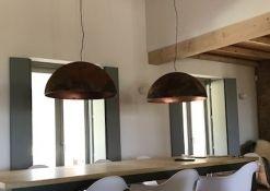 2 koepellampen 60cm handgemaakt met koper